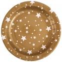 Assiettes carton or étoiles blanches 22.5 cm les 10