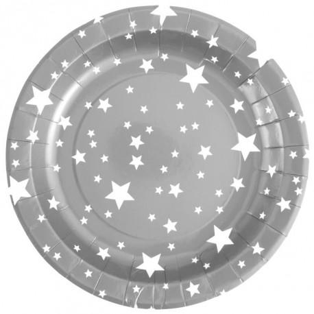 Assiette carton argent étoiles blanches 22.5 cm les 10