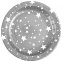 Assiettes carton argent étoiles blanches 22.5 cm les 10