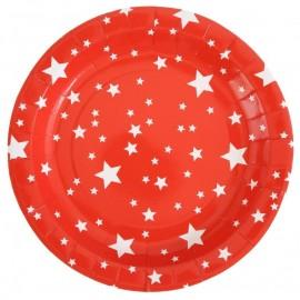 Assiette carton rouge étoiles blanches 22.5 cm les 10