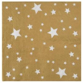 Serviette de table or étoiles blanches papier les 10
