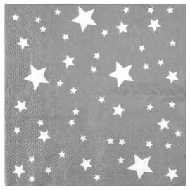 Serviette de table argent étoiles blanches papier les 10