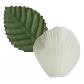 Pétales ivoire en tissu avec feuilles les 100