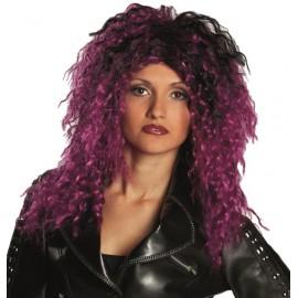 Perruque rock violette et noire femme