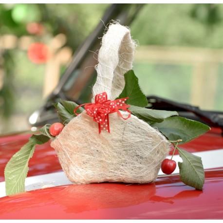 Panier à fleurs et à pétales en sisal naturel