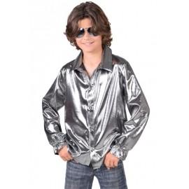 Déguisement chemise disco argent garçon luxe