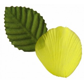 Pétale de rose jaune en tissu avec feuilles x100 Pétale jaune
