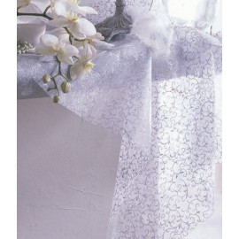 Chemin de table arabesque argent intissé blanc 10 M