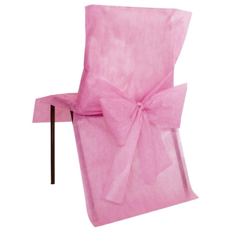 Housses de chaise intiss rose avec noeuds les 10 - Prix housse chaise mariage ...