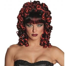 Perruque baroque noire et rouge femme