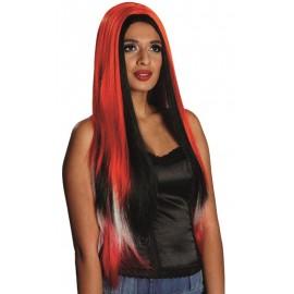 Perruque longue rouge femme à mèches noires et blanches