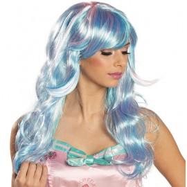 Perruque longue bleue-rose femme