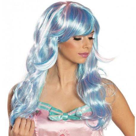 Perruque longue bleue-rose femme : Perruque