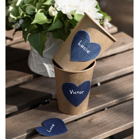 Confettis coeur bleu jean les 12