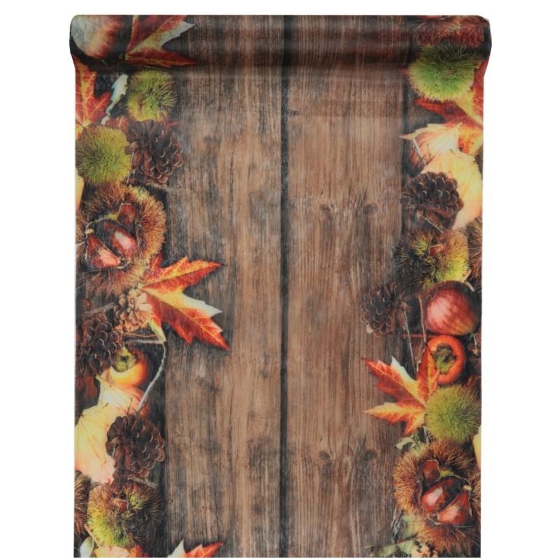 chemin de table automne intiss 5 m chemins de table art. Black Bedroom Furniture Sets. Home Design Ideas