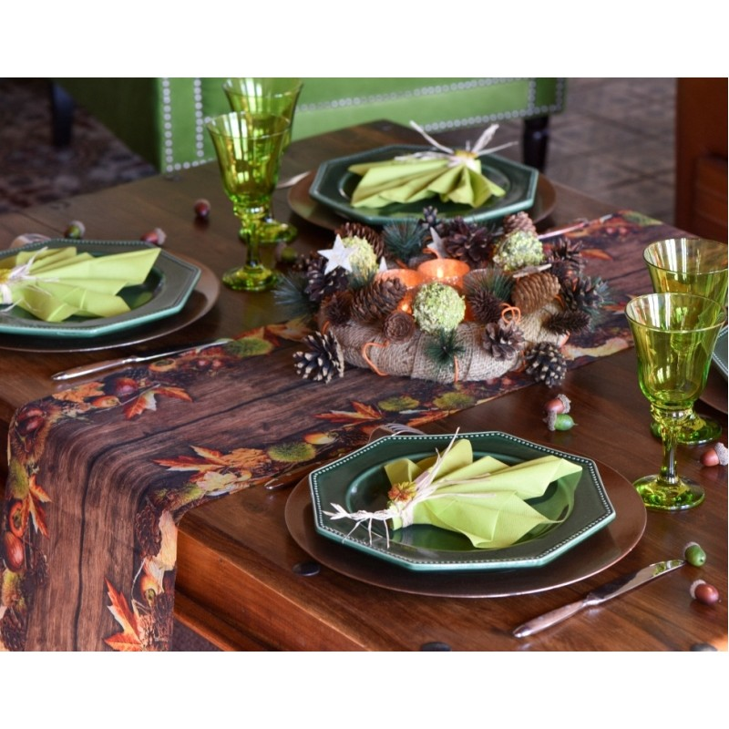 Chemin de table automne intiss 5 m chemins de table art - Set de table intisse ...