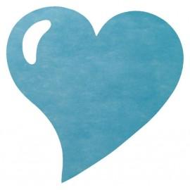 Set de table coeur turquoise intissé les 50