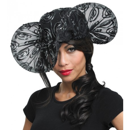 Chapeau de soirée tulle noir femme
