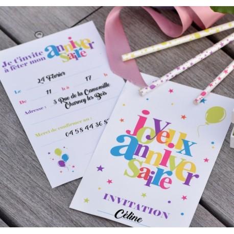Carte invitation joyeux anniversaire les 6
