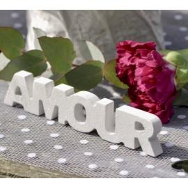 Mot Amour en bois blanc pailleté