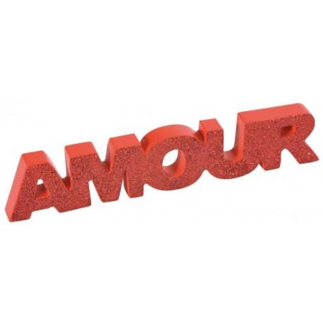 Mot Amour en bois rouge pailleté