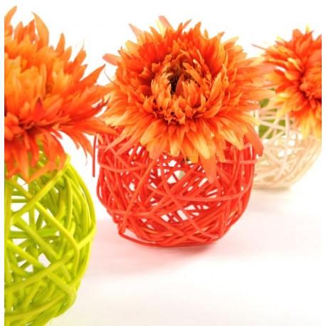 Boule rotin orange en 3 tailles les 10