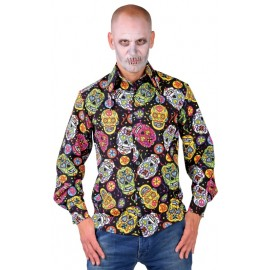 Déguisement chemise Mexican Skull homme luxe