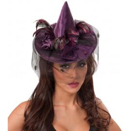 Mini Chapeau Sorcière Violet femme avec Voilette luxe