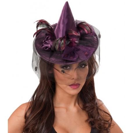 Mini chapeau sorcière violet femme avec voilette Halloween