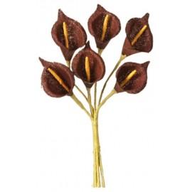 Mini arum chocolat en tissu sur tige les 24