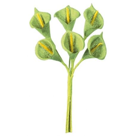 Mini arum vert anis en tissu sur tige les 24
