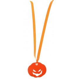 Etiquette citrouille orange avec ruban les 12