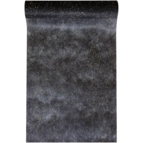 Chemin de table pailleté noir intissé 10 M