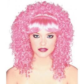 Perruque bouclée rose femme luxe