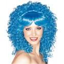 Perruque bleue bouclée femme luxe