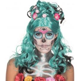Perruque Dia de los muertos bleue turquoise femme