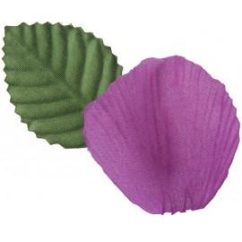 Pétales prune en tissu avec feuilles les 100