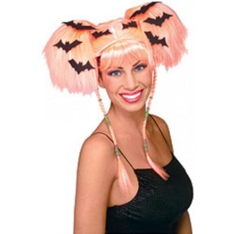Perruque sorcière orange femme Halloween