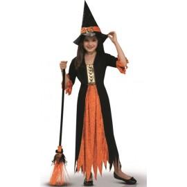 Déguisement sorcière noir orange fille Halloween