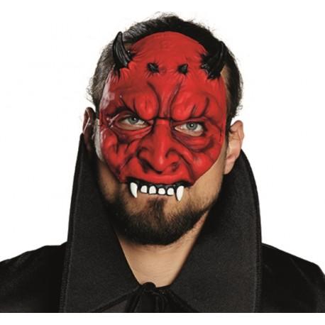 Demi masque diable adulte rouge