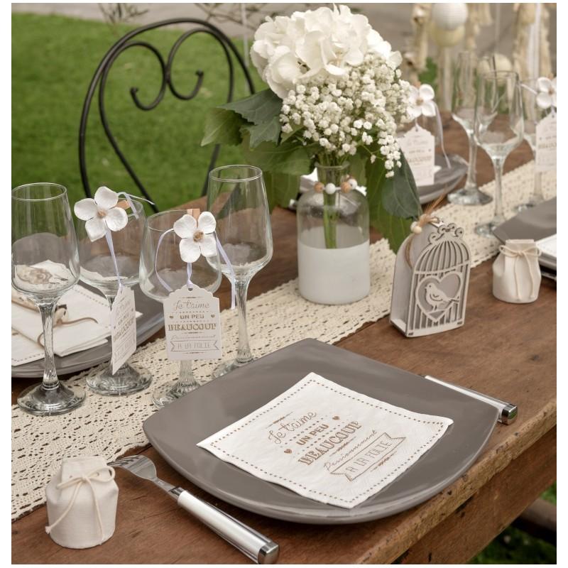 Serviette de table je t 39 aime blanche papier les 20 - Serviette de table blanche ...