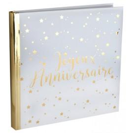 Livre d'or Joyeux anniversaire blanc et or