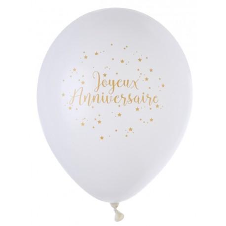 Ballon Joyeux Anniversaire Blanc Or 23 Cm Les 8 Ballon De Baudruche