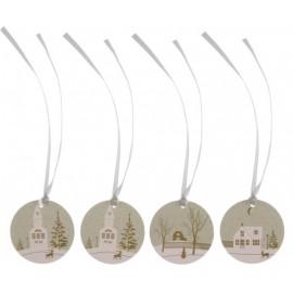 Etiquette Village de Noël avec ruban les 12