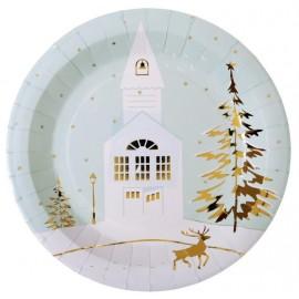Assiette carton Village de Noël 22.5 cm les 10