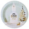 Assiettes carton Village de Noël 22.5 cm les 10