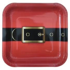 Assiette carton ceinture père Noël 23 cm les 10