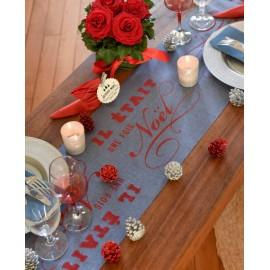 Chemin de table de Noël bleu et rouge tissu 3 M