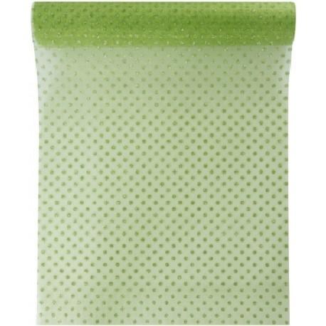 Chemin de table à pois en organdi vert