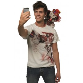 Déguisement T-Shirt Selfie clown effrayant adulte
